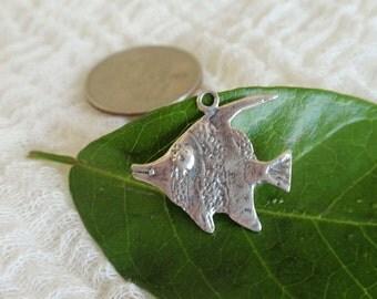 Vintage Angel Fish Sterling Silver Charm for Charm Bracelet