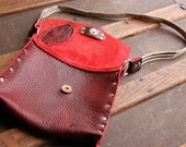 Burgundy Buffalo Leather Evening Purse