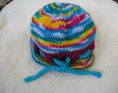 Hand Knit Pixie Hat and Socks in Rainbow with Fusion and Blue Mint Yarns