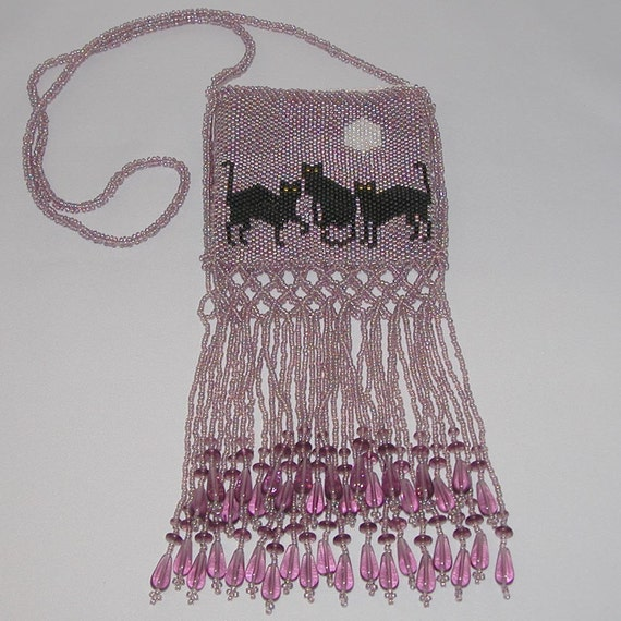 Pink Beaded Amulet Bag, 3 Black Cats with Moon, Large Purse, Amethyst Glass Beads