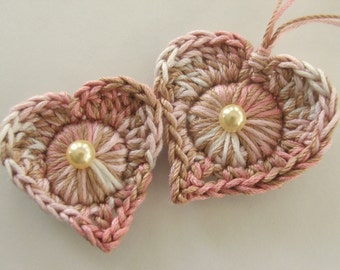 Easy Ornament Crochet PATTERN - Instant pdf Download - Crocheted Hearts and Diamonds