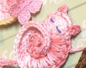 CROCHET PATTERN - Darling Kitty - Tiny Crocheted Cat Ornament or Applique Instructions - pdf