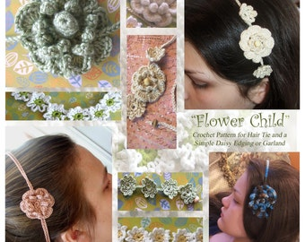 Easy Crochet PATTERN - Flower Child Hair Tie and Daisy Garlands - Permission to Sell