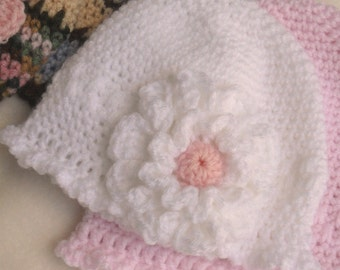 CROCHET PATTERN Delicate Single Crochet Beanie with Flowers and Pom Pom - Instant Download