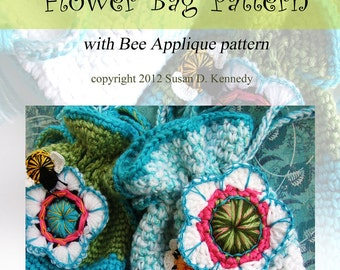 Instant Download Crochet PATTERN - Summery Treasure Bag, FLOWERS and BEES - pdf Crochet Pattern Set