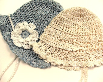 Crochet Baby Hat Pattern , Easy and Summery Thread Crochet Baby Cap Three Sizes with Flower, permission