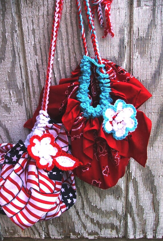 CROCHET Pattern Instant Download - FAST and EASY summer Bandana Bag project with flower - no sewing machine needed