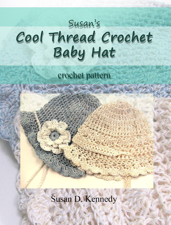 Crochet Thread Baby Bonnet Pattern : Baby Hat Crochet PATTERN Fast Cotton Thread CROCHET PATTERN