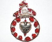 Wire Wrapped Red Pomegranate Necklace - A Symbol of Righteousness and Wisdom