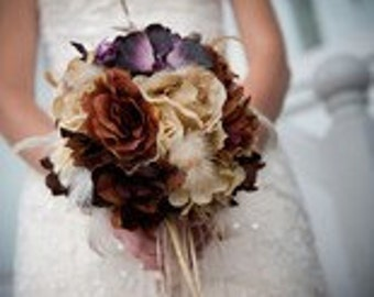 VINTAGE VIXEN Wedding Bouquet  Accented With Feathers
