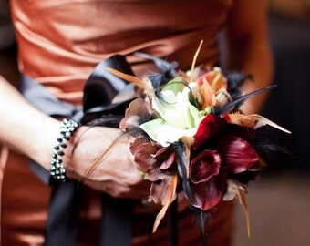 VINTAGE RUSTIC Bridesmaid Bouquet Posy With Feathers