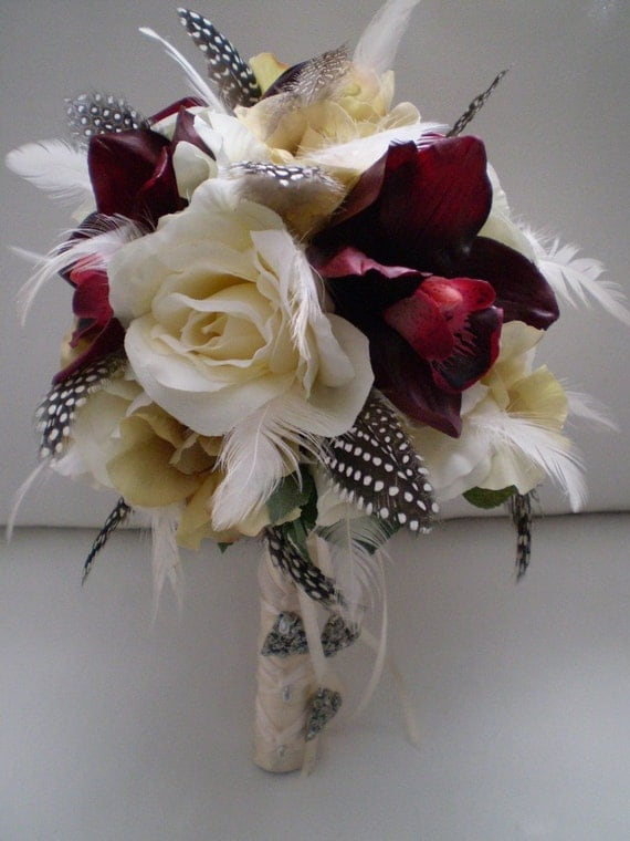 LOVE STORY Wedding Bouquet And Boutonniere With Feathers