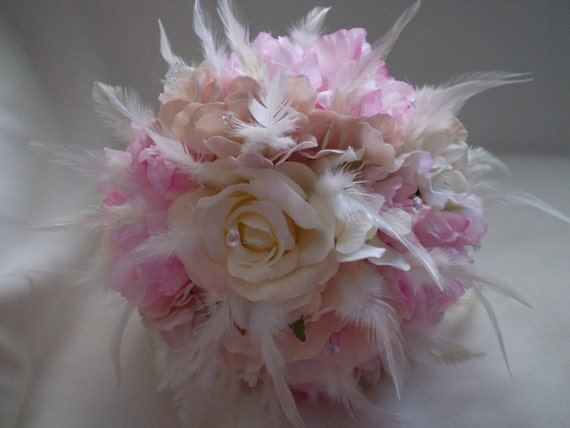 Sale READY TO SHIP Vintage Look Blush Pink Bridal Bouquet With Diamantes Bling And Feathers