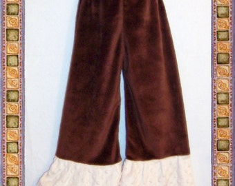 SALE - Minky Pants Smooth Brown with Cream Dot Minky Ruffle - Ready to Ship - Size 5