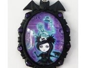 NECKLACE Pocket Full of Posiez TM Ghost will follow you Home Black Bat Pendant with Purple Swarovski Crystals