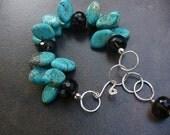 ON SALE- Thunder and Lightning, Turquoise Sterling Silver & Smoky Quartz Bracelet