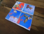 Over The Moon, Tile Coaster Set- Coffee Table Ceramic Coasters