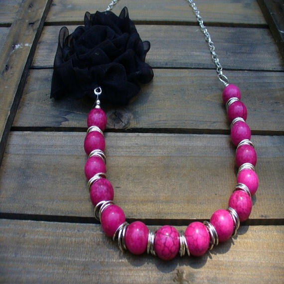 ON SALE- Sultry, Western Cowgirl Southwestern Boho Pink Turquoise & Fabric Flower Gemstone Necklace