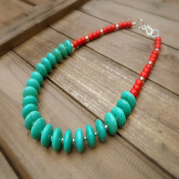 Painted Warrior, Western Cowgirl Southwestern Turquoise & Coral Necklace