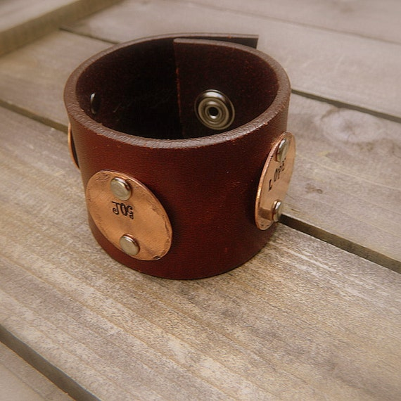ON SALE- Walk Jog Lope, Western Cowgirl Recycled Leather & Copper Stamped Cuff Bracelet
