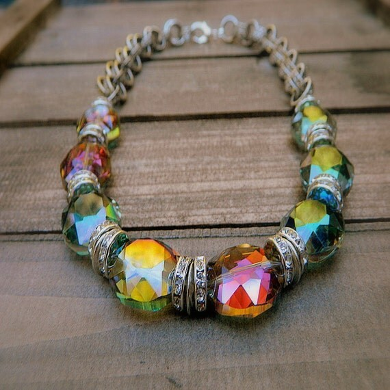 Over The Rainbow, Western Cowgirl Faceted Mystic Quartz Crystal Necklace
