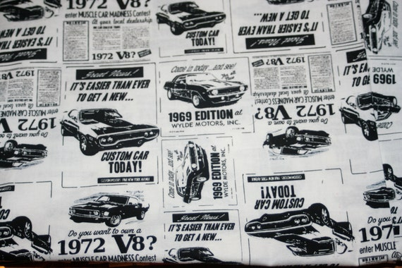 Timeless Treasures Black and White Old Car Ad's Muscle Car- 1 yard cotton quilt fabric