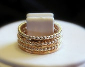 Hammered 6 Band 14k Gold fill  & Beaded Sterling Silver Stacking / Stackable / Stack Rings