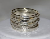 Set of 9 sterling silver stackable rings, hammered textured shiny bands, Made to order in your size