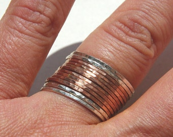 14k rose gold filled & sterling silver stacking rings set of 12 - ultra thin stacking rings