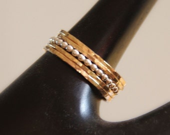 Set of 5.  4 stacking rings in 14k gold filled and 1 beaded, dotted stack ring in sterling silver, custom made in sizes 4,5,6,7,8,9,10