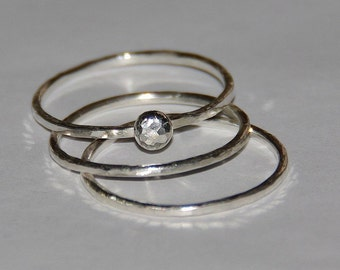 Handmade hammered pebble sterling silver stacking / stackable rings - size 4,5, 6,7,8,9,10,11, half and quarter sizes