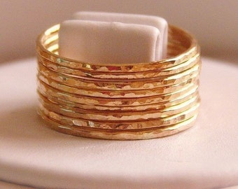10 skinny  bands  hammered stackable rings 14k gold filled size MADE TO ORDER,  gift stackable gold rings
