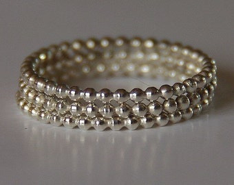 Beaded / Dotted Sterling Silver Stacking / Stack / Stackable Rings (eternity bands) sizes 4,5,6,7,8,9,10,11 made to order