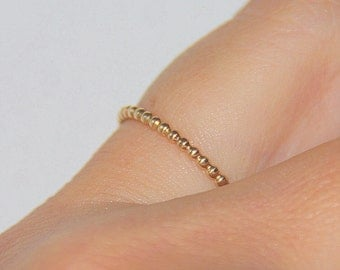 One yellow gold filled beaded, dotted stackable skinny ring, slim stacking ring gold / stacking band gold, wedding stack band