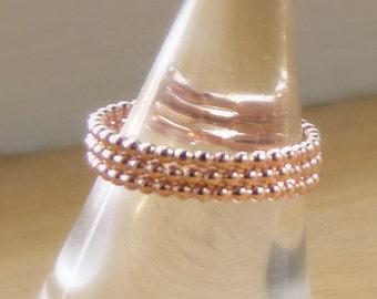 Rose Gold Rings - Rose Gold Bead Ring - Rose Gold Eternity Band - Thumb Ring - Rose Gold Stack Ring - Stacked Rings - Rose Gold Stackable