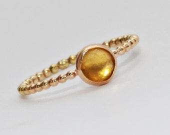 Gemstone Ring - Gold Citrine Ring- Citrine Gemstone Ring- Stacking Ring- Stackable Ring- Ring- November Birthstone Ring- Gold Ring