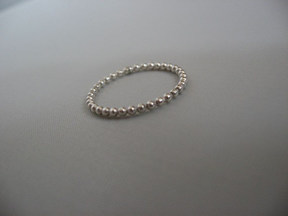 One SINGLE Sterling Silver Beaded (Dotted) band / stackable/stacking/stack/ring- dainty thumb ring, first knuckle rings, dainty thumb rings