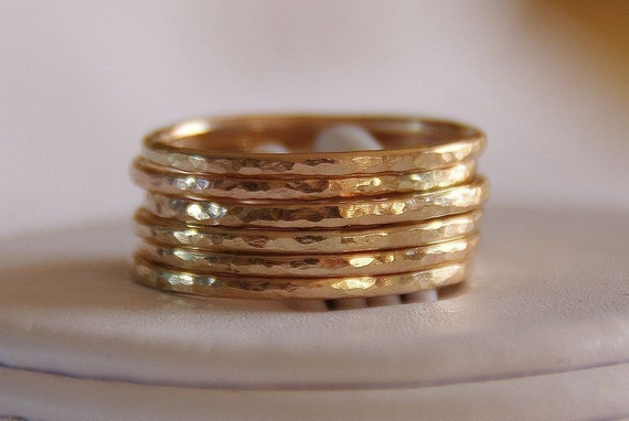 FREE SHIPPING 14K Gold Filled Stacking \/ Stackable Rings - Set of SIX, sizes 4,5,6,7,8,9,10,11,12 FREE SHIPPING
