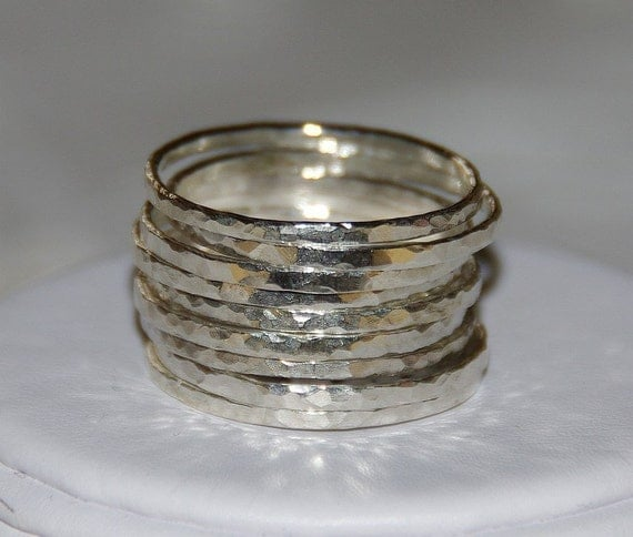 SET OF 9 handmade hammered sterling silver stackable rings, sizes 3, 4, 5, 6, 7, 8, 9, 10, 11