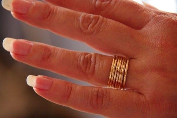 Stacker Rings 16g 14k Gold Filled Hammered Ring Set of 7 - Gold Stacking Ring - Hammered 7 Ring Set