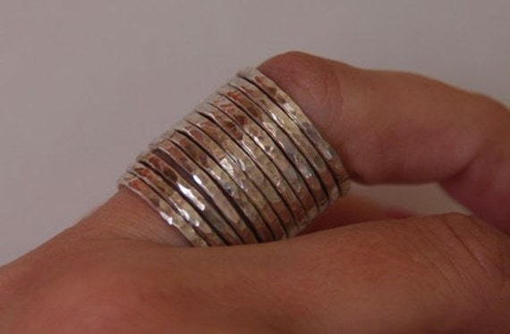 SET OF 12 CHUNKY Sterling Silver Hammered Bands Stacking Rings Sizes  5, 6, 7, 8, 9, 10, 11 half and quarter sizes jewelry etsy