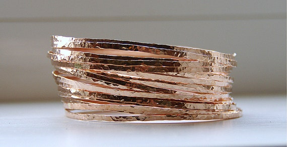 3 Rose Gold Filled Hammered Thin Stack Bangles Bracelets - stackable bracelets