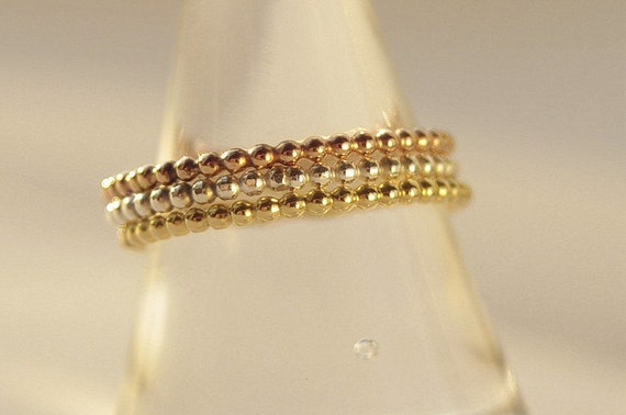 Tri color set of 3 Bands Yellow, Rose Gold, Silver Stackable Ring Set Mother's Day Gift