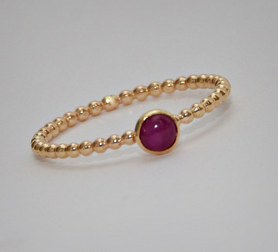 Ruby Ring, July Birthstone Ring, Gold Stacking Ruby Ring, Stackable Gemstone Ring - Size 3, 4, 5, 6, 7, 8, 9