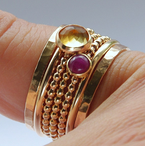 Ruby & Citrine Stackable Birthstones Mothers rings - Personalized Jewelry - Gemstone Ring, Stackable Ring - size 4, 5, 6 ,7 ,8, 9