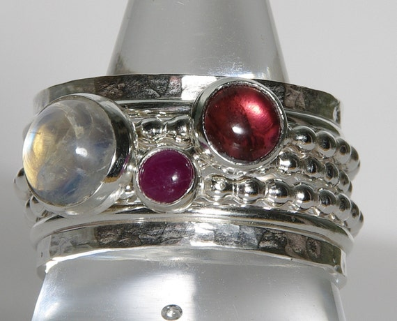 Pink Tourmaline Ruby Rainbow Moonstone Birthstone Ring Mothers Ring Birthstone Silver Stacking Rings Mothers Keepsake Rings