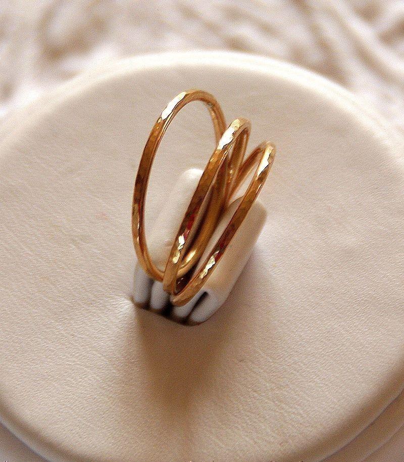 set of 3 14k gold filled hammered stackable stacking rings. Black Bedroom Furniture Sets. Home Design Ideas
