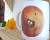 Raccoon china mug