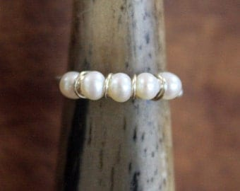 Soft and Simple Pearl Ring