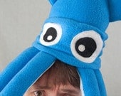 Plush Squid Hat - Small Turquoise Fleece